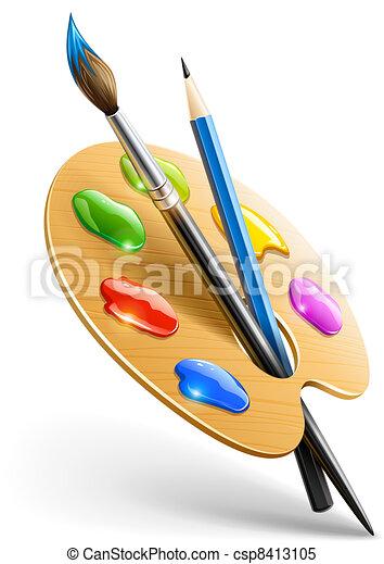 연필, 팔레트, 예술, 페인트 붓, 도구, 그림 - csp8413105