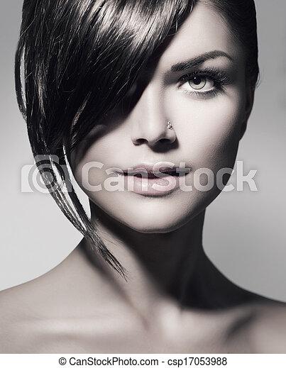 열대의, 짧다, 스타일, fringe., 머리, 유행, 소녀 - csp17053988