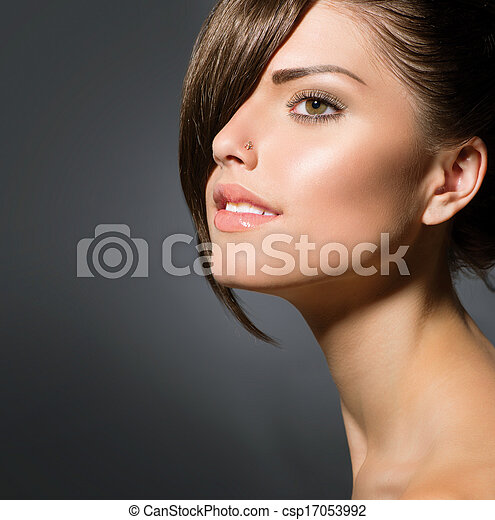 열대의, 짧다, 스타일, fringe., 머리, 유행, 소녀 - csp17053992