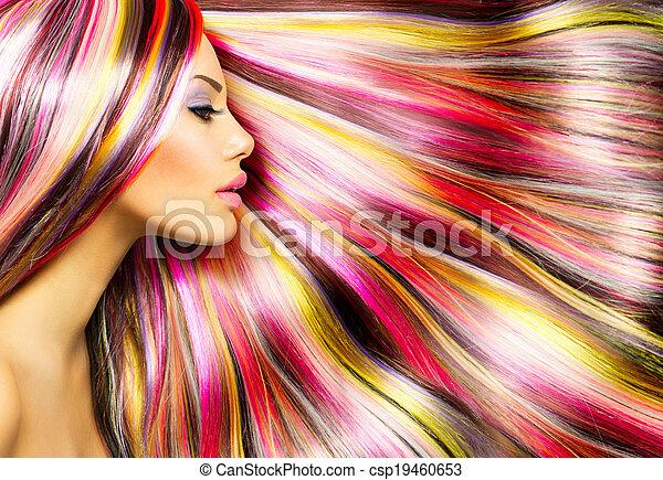 유행, 아름다움, 다채로운, 물들이게 되었던 머리, 모델, 소녀 - csp19460653