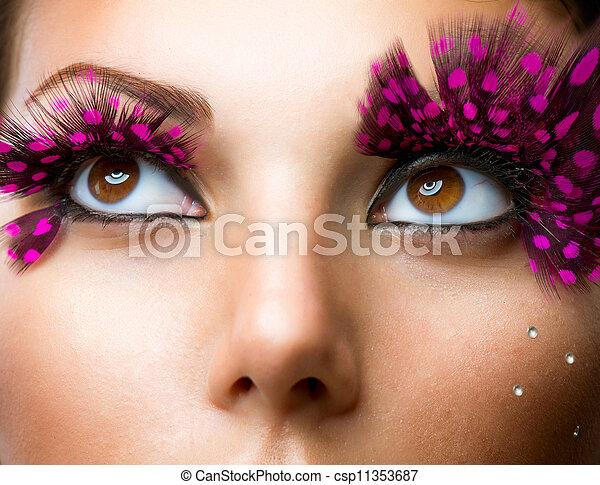 유행, 유행, 불성실한, eyelashes., 구성 - csp11353687
