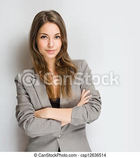 유행, woman., 브루넷의 사람, 나이 적은 편의 - csp12636514