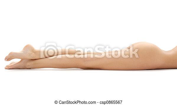 은 이완했다, 다리, 숙녀, 길게 - csp0865567
