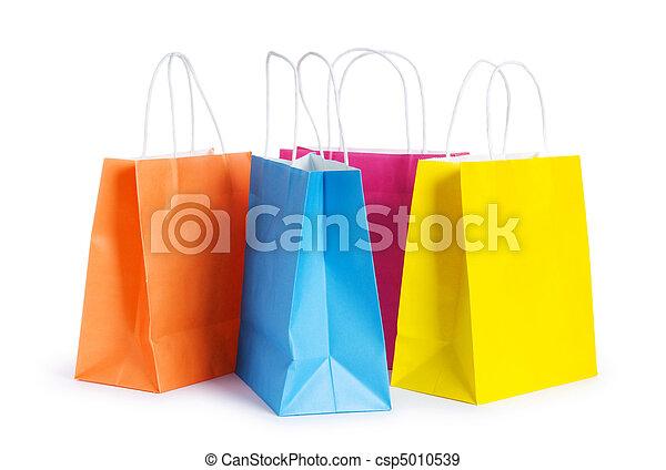 은 자루에 넣는다, 백색, 쇼핑, 고립된, 배경 - csp5010539