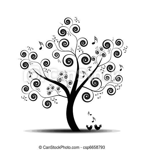 음악, 나무 - csp6658793