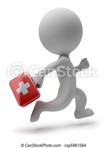 의사, 사람, -, 달리기, 작다, 3차원 - csp5961564