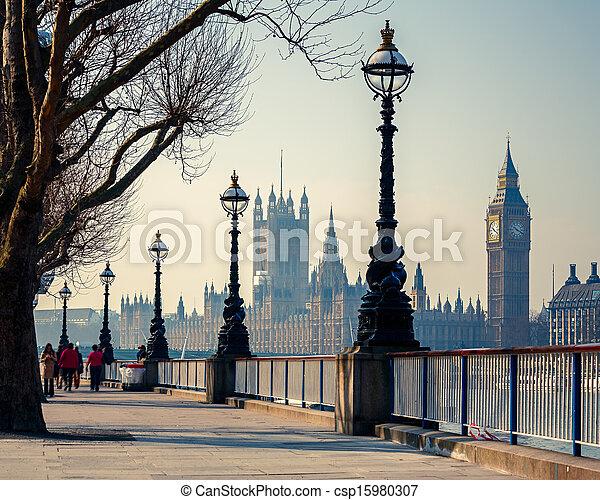 의회, 빅 벤, 런던, 집 - csp15980307
