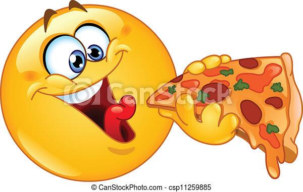 이모티콘, 피자를 먹는 것 - csp11259885