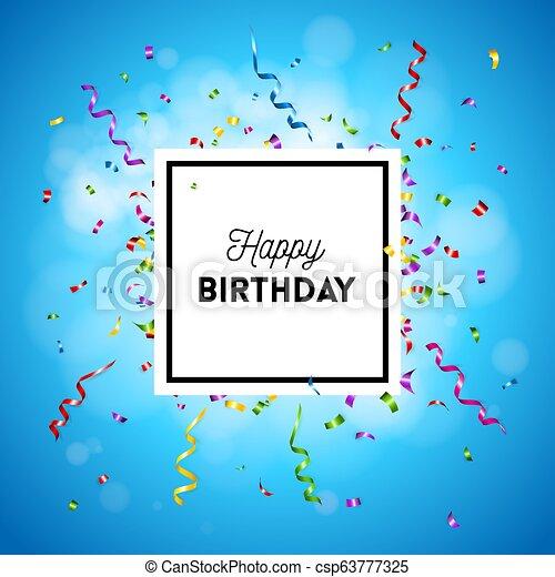 인사, 생일, 기드림, 벡터, 카드, 행복하다 - csp63777325