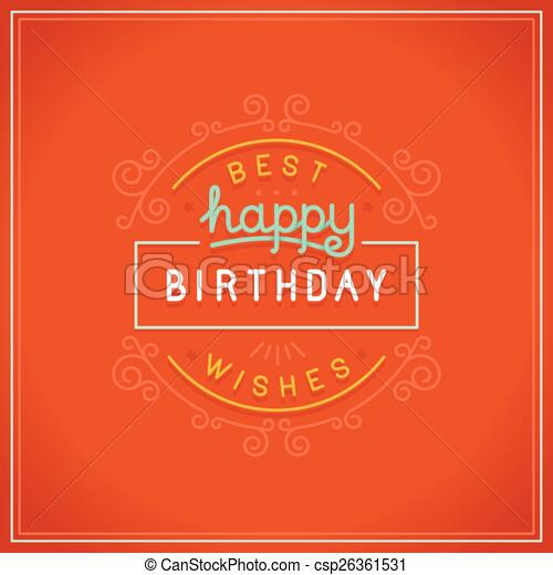 인사, 생일, 벡터, 디자인, 카드, 행복하다 - csp26361531