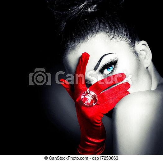 입는 것, 스타일, 여자, 포도 수확, 매력, 장갑, 신비적인, 빨강 - csp17250663