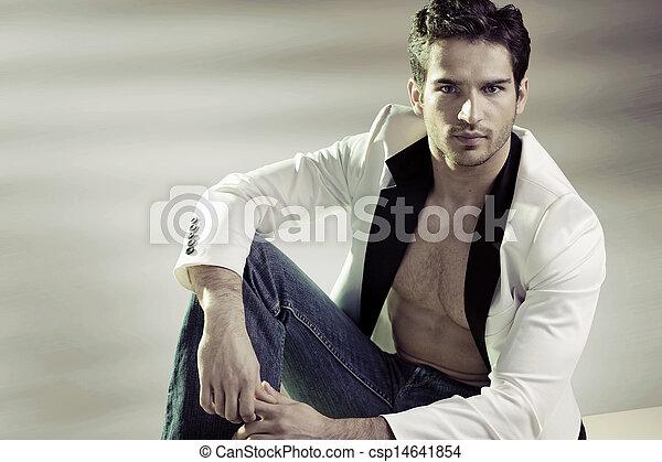 입는 것, 유행, 잘생긴, 재킷, 남자 - csp14641854