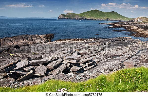 자연, 시골, 무대의, 아일랜드, 시골의 풍경 - csp5789175