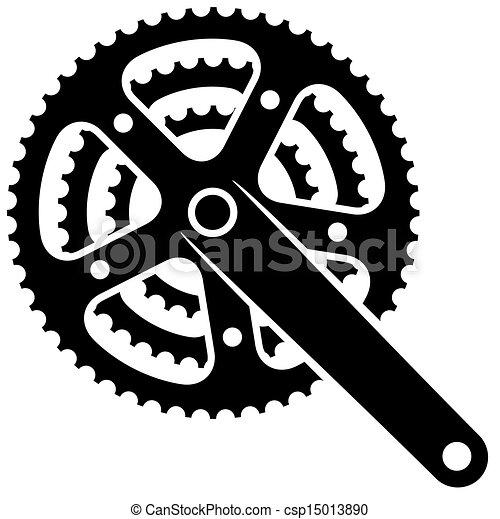 자전거, 사슬톱니, cogwheel, crankset, 벡터, 상징 - csp15013890