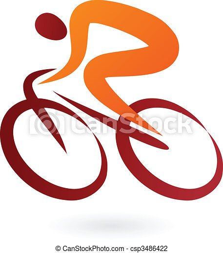 자전거 타는 사람, 벡터, -, 삽화, 아이콘 - csp3486422
