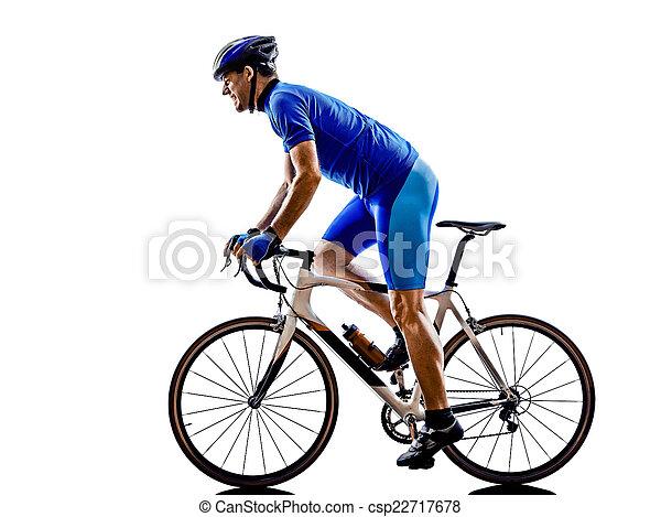 자전거 타는 사람, 실루엣, 자전거, 길, 순환 - csp22717678