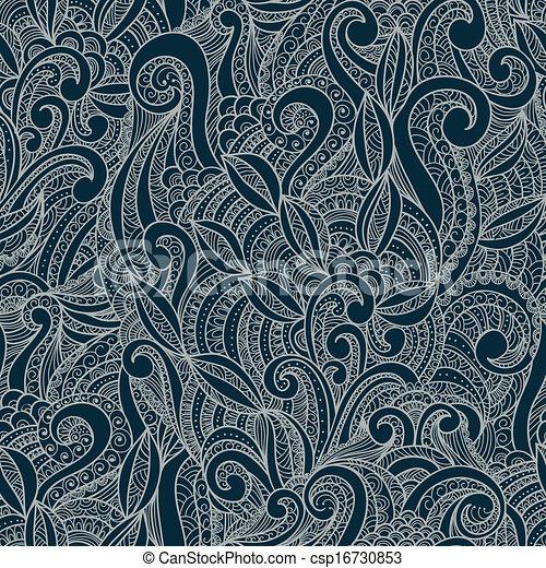 장식적이다, 꽃의, 꾸밈이다, seamless, 패턴 - csp16730853