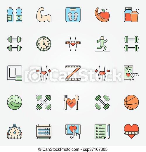 적당, 선, 세트, 다채로운, 아이콘 - csp37167305