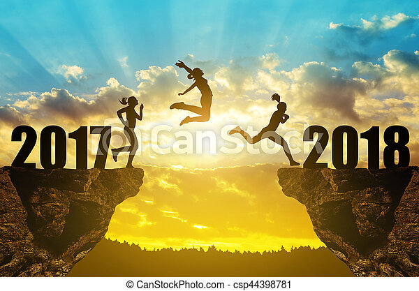 점프, 새로운, 소녀, 2018, 년 - csp44398781
