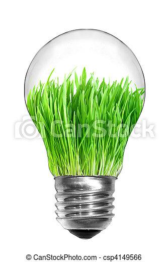 제자리표, concept., 빛, 에너지, 고립된, 녹색, 전구, 백색, 풀, 내부 - csp4149566