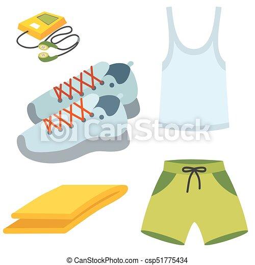 주자, 연습, 삽화, 달리기, 벡터, 은 설치한다, 스포츠, 운동복, 천 - csp51775434