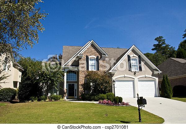 집, 돌, 회색, stucco - csp2701081