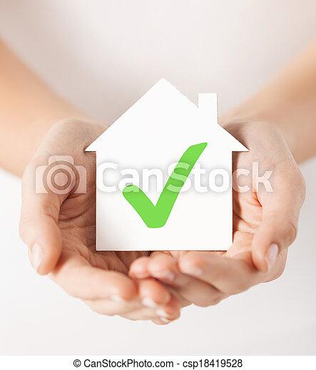 집, 손, 수표, 보유, 표 - csp18419528