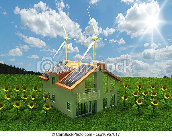 집, 에너지, 개념, 저금 - csp10957017