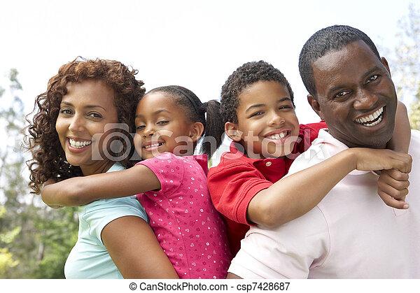 초상, 공원, 가족, 행복하다 - csp7428687