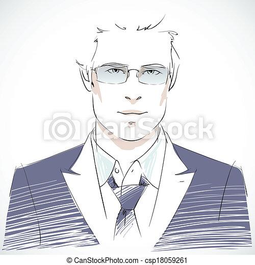 초상, 실업가, 나이 적은 편의, 유행 - csp18059261
