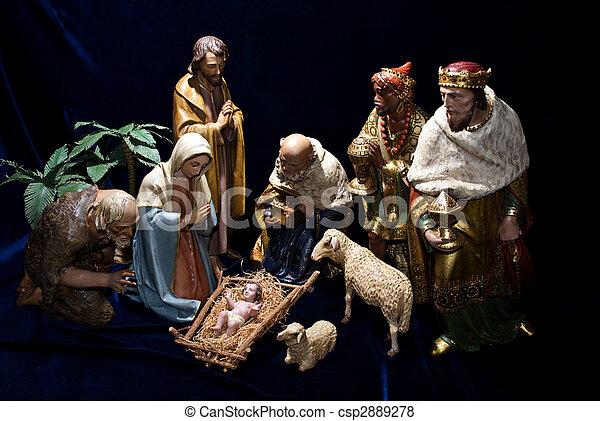 출생, 작은 입상, 크리스마스, 장소 - csp2889278