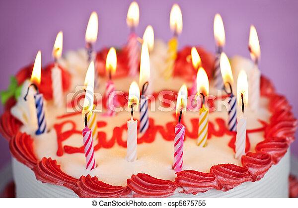 케이크, 불을 붙이게 된다, 생일 초 - csp5675755