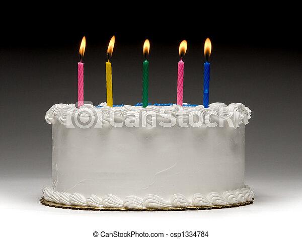 케이크, 윤곽, 생일 - csp1334784