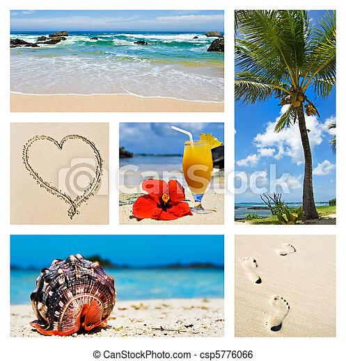 콜라주, 섬, 장소, 열대적인 - csp5776066