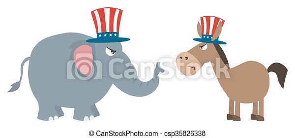 타는 듯한, 대, 정치에 참여하는, 당나귀, 코끼리 - csp35826338