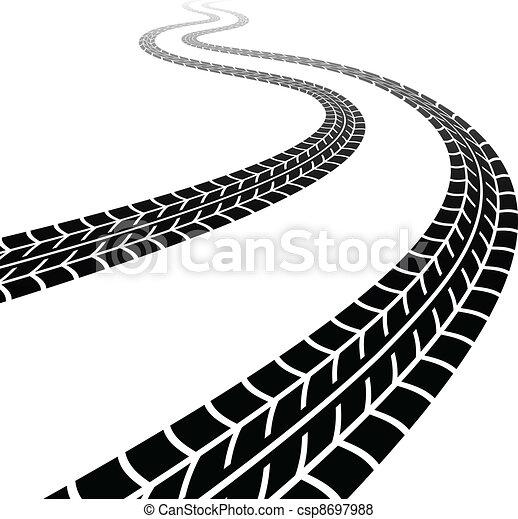타이어, 우여 곡절, 벡터, 자취 - csp8697988