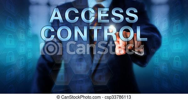 통제, 스크린 위다, 미는 것, 접근, 임자, 자료 - csp33786113
