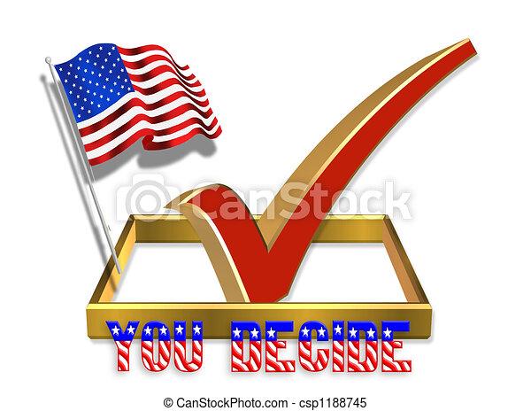 투표, 상자, 수표, 3차원 - csp1188745