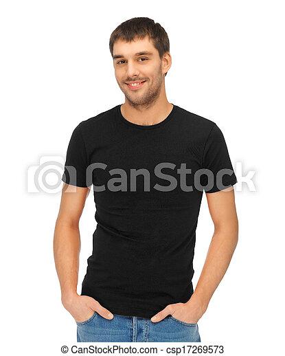 티셔츠, 남자, 검정, 공백 - csp17269573