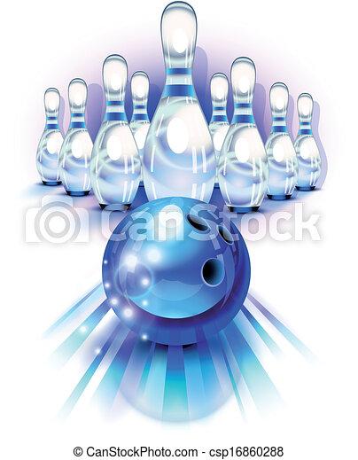 파랑, 기계의 운전, 핀, 공, 볼링 - csp16860288