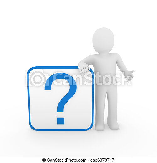 파랑 남자, 질문, 3차원, 표 - csp6373717