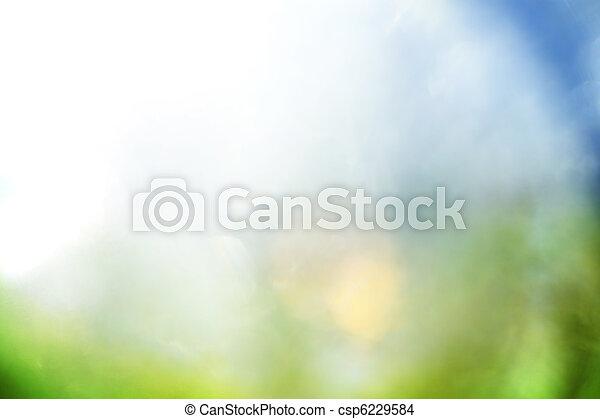파랑, 떼어내다, 녹색의 배경 - csp6229584