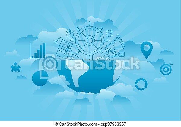파랑, 세계, 관리 - csp37983357