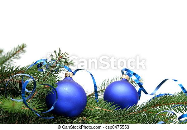 파랑, 전구, 크리스마스 - csp0475553