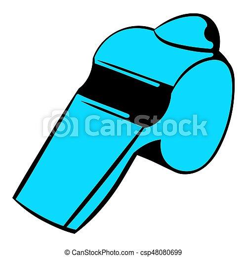 파랑, 휘파람, 아이콘, 만화, 아이콘 - csp48080699