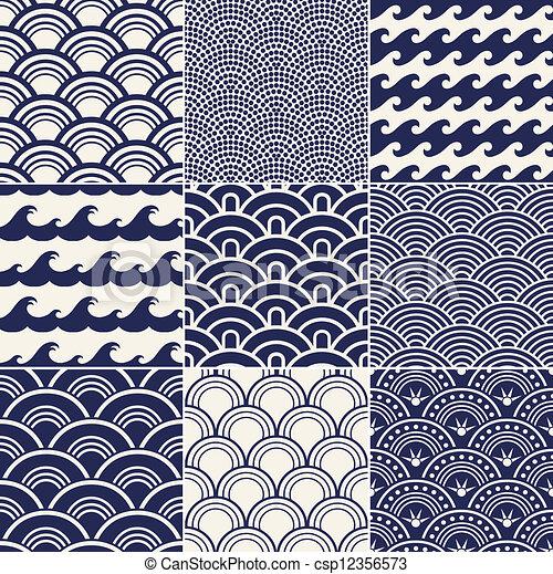 패턴, 대양, seamless, 파도 - csp12356573