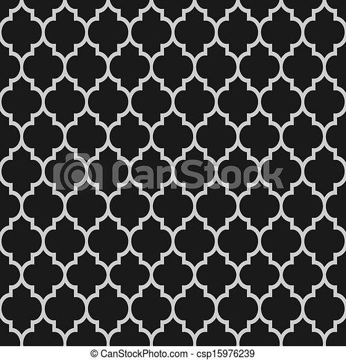 패턴, 백색, 검정, seamless, 이슬람교 - csp15976239