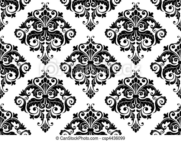 패턴, seamless, 다마스크 천 - csp4436099