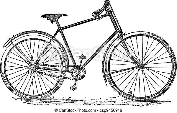 포도 수확, velocipede, 자전거, engraving. - csp9456919