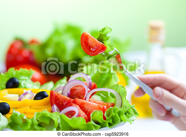 포크, 샐러드, 건강에 좋은 음식, 야채, 신선한 - csp5923916